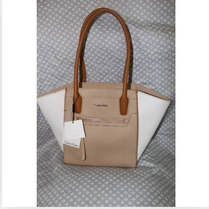 Leather Calvin Klein color block tote. NWT.